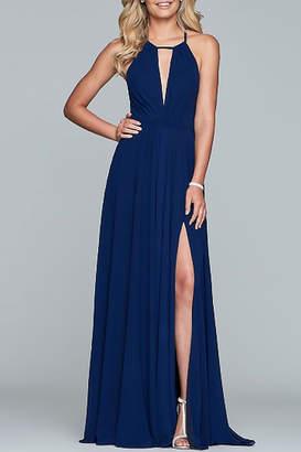 Faviana Long-Halter Neck Chiffon Dress