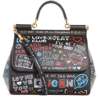 Dolce & Gabbana Medium Sicily Graffiti Print Leather Satchel