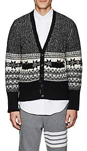 Thom Browne Men's Fair Isle Wool-Mohair Cardigan-Navy