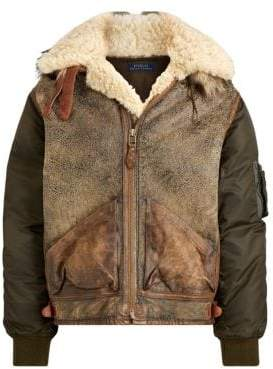 Polo Ralph Lauren Men's Shearling& Faux Fur-Trim Flight Jacket - Olive - Size XL