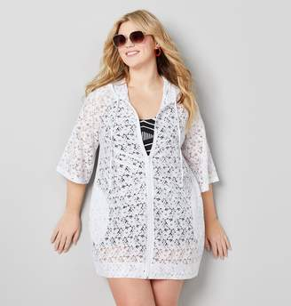 2848ddca98b Avenue Plus Size Zippered Lace Swim Cover-Up In White