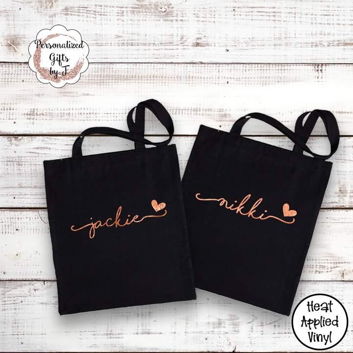 Etsy Rose Gold Tote Bag Cotton Canvas Bridesmaid Gift Idea Monogrammed Gold Bag Metallic Silver Bridesmai
