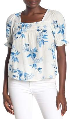Lucky Brand Square Neck Smocked Floral Print Top