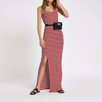 River Island Womens Red stripe ribbed split side maxi dress