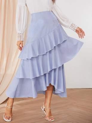 91905cd79d74be Shein Tiered Layer Striped Dip Hem Skirt