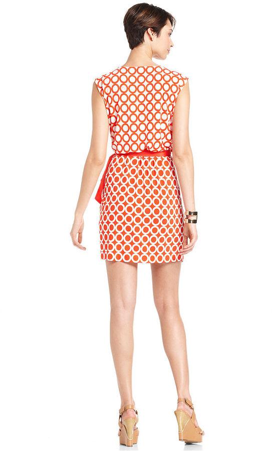 ECI Dress, Sleeveless Circle-Print Belted