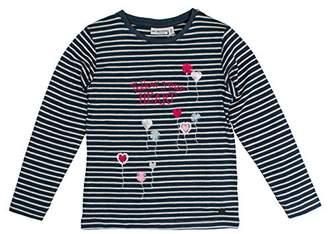 Salt&Pepper SALT PEPPER Girl's Longsleeve Wild Heart Stripe T-Shirt, (Night Blue Melange 471)