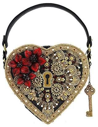 Mary Frances Embellished Heart Lock & Key Top Handle Bag