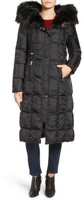 Women's Via Spiga Detachable Faux Fur Trim Hooded Long Down & Feather Fill Coat $300 thestylecure.com