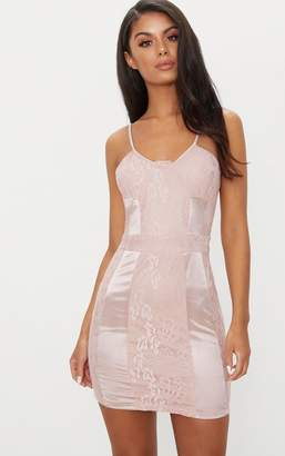 PrettyLittleThing Dusty Pink Lace Strappy Satin Panel Bodycon Dress