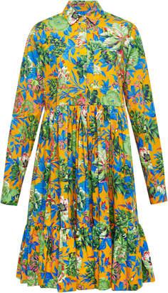 MSGM Tropical Jungle Poplin Shirt Dress