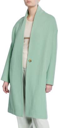 Vince Collarless Long Wool Coat