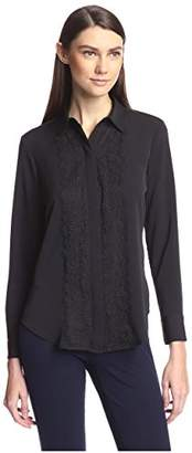 Society New York Women's Lace Trim Shirt