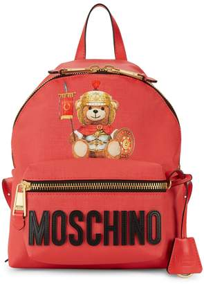 Moschino Logo Faux Leather Backpack