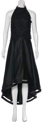 Nicole Miller Embroidered High-Low Gown