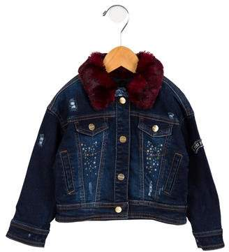 Mayoral Girls' Faux Fur-Trimmed Denim Jacket