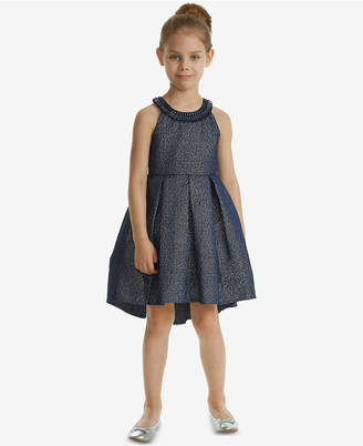 Rare Editions Toddler Girls Embellished-Neck Jacquard Dress