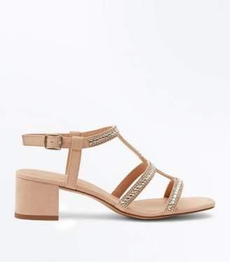 8eb21d510869 New Look Girls Nude Suedette Gem Strap Gladiator Sandals