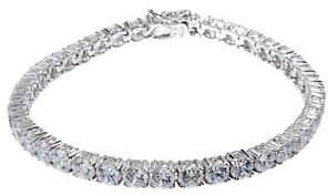 Diamonique Simulated Diamond Tennis Bracelet,Platinum Clad