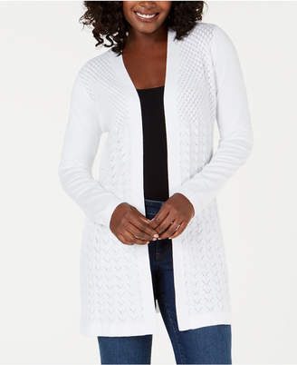 Karen Scott Knit Open-Front Cardigan