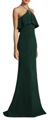 Theia Floor-Length Halter Popover Crepe Gown