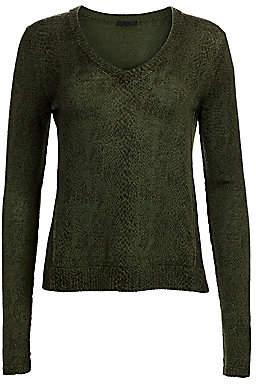 ATM Anthony Thomas Melillo Women's Snakeskin-Print V-Neck Sweater