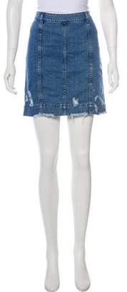 Public School Distressed Denim Mini Skirt