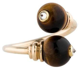 Tiger's Eye and Diamond Bypass Ring