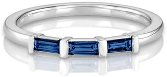 S/H Koh 14k Gold & Sapphire Yours Only Triple Baguette Ring