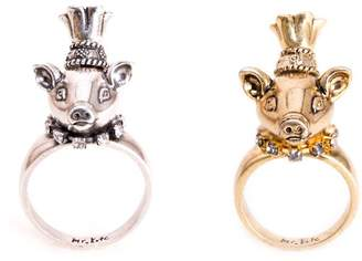 Mr. Kate Posh Pig Party Animal Plated Brass Ring, Size 7