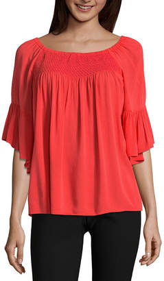A.N.A 3/4 Sleeve Smock Neck Top