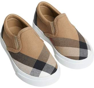 Burberry House Check and Leather Slip-on Sneakers