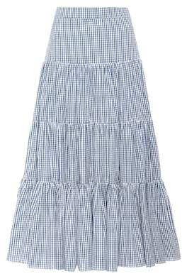 Caroline Constas Peasant gingham tiered skirt