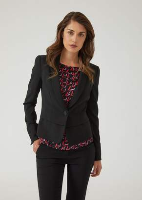Emporio Armani Peplum Jacket In Stretch Virgin Wool