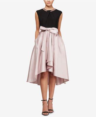 Sl Fashions Faux-Pearl High-Low Contrast Dress