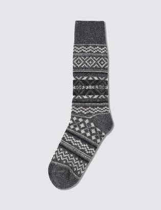 Tabio Men's Wool Large Size Fair Isle Socks