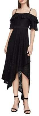BCBGMAXAZRIA Demi Asymmetrical Lace Midi Dress