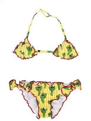 MC2 Saint Barth Kids cactus print triangle bikini set