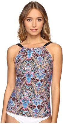 Jantzen - Vibrant Paisley High Neck Tankini Top Women's Swimwear $84 thestylecure.com