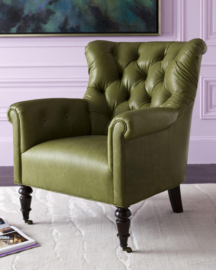 Annie Selke Home Green Leather Chair