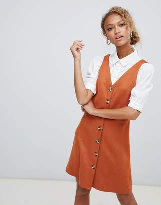 New Look Suedette Button Through Pinny