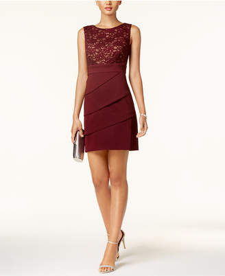 Connected Petite Tiered Lace Sheath Dress