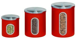 Honey-Can-Do Red Metal Storage Canister - Set of 3