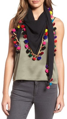 Women's Betsey Johnson Spring Fling Pompom Scarf $30 thestylecure.com
