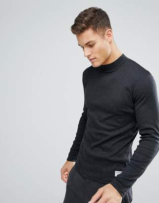 Solid Slim Fit Long Sleeve T-Shirt With High Neck And Mini Rib In Dark Gray