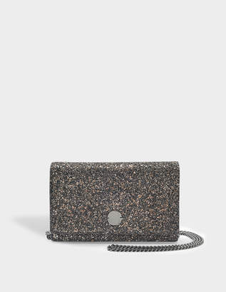 Jimmy Choo Florence Clutch Bag in Bronze Mix Midnight Coarse Glitter Fabric
