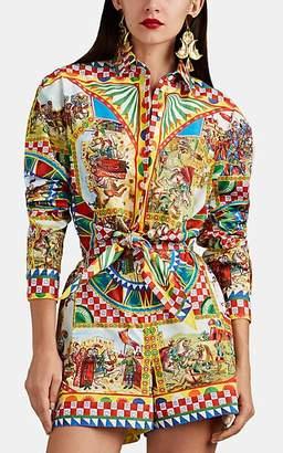 Dolce & Gabbana Women's Maiolica-Print Cotton Poplin Tie-Front Blouse