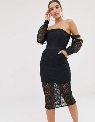 Bardot Lioness Long Sleeve Allover Lace Midi Dress