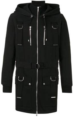 Balmain D-rings hooded coat