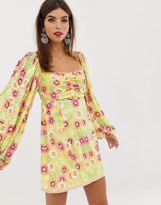 Asos Edition EDITION floral embellished milkmaid mini dress